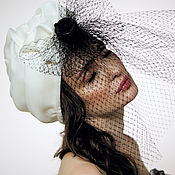Аксессуары handmade. Livemaster - original item White silk organza turban with small black rose and net. Handmade.