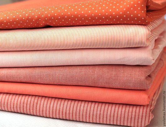 Шитье ручной работы. Ярмарка Мастеров - ручная работа. Купить Набор тканей Оранжево-персиковый. Handmade. Ткань для рукоделия, ткань