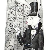 Аксессуары ручной работы. Ярмарка Мастеров - ручная работа Белый кролик - шелковый галстук с ручной росписью. Handmade.