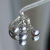 Украшения handmade. Livemaster - original item Silver set earrings ring pendant with natural grey pearl. Handmade.