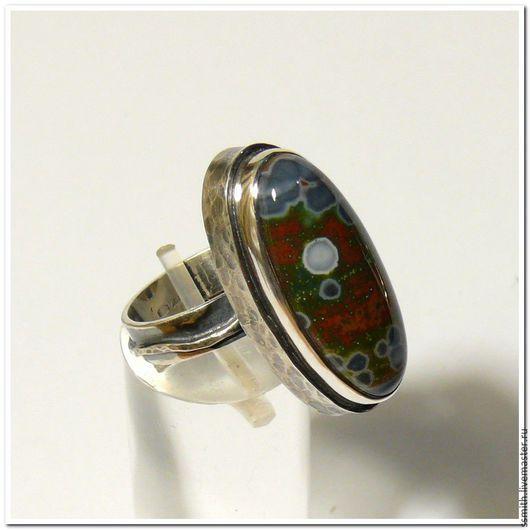 Кольца ручной работы. Ярмарка Мастеров - ручная работа. Купить Кольцо серебряное с океанической яшмой 2. Handmade. Яшма