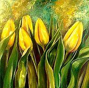 Картины и панно handmade. Livemaster - original item Interior painting on canvas with oil Yellow tulips. Handmade.