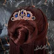 Украшения handmade. Livemaster - original item Hair comb with lapis lazuli blue stones