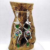 handmade. Livemaster - original item Large silver earrings with beads lampwork
