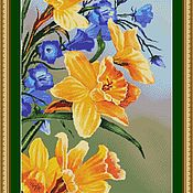 Материалы для творчества handmade. Livemaster - original item kit embroidery with beads daffodils