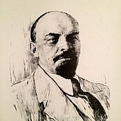 Pictures handmade. Livemaster - original item Black and white picture.portrait of Lenin.Lithograph.18h27cm. Handmade.