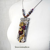 Pendants handmade. Livemaster - original item The Golden vine pendant (polymer clay and glass). Handmade.