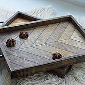 Подносы ручной работы. Ярмарка Мастеров - ручная работа Поднос из дерева для подачи завтрака с градиентом в стиле рустик. Handmade.