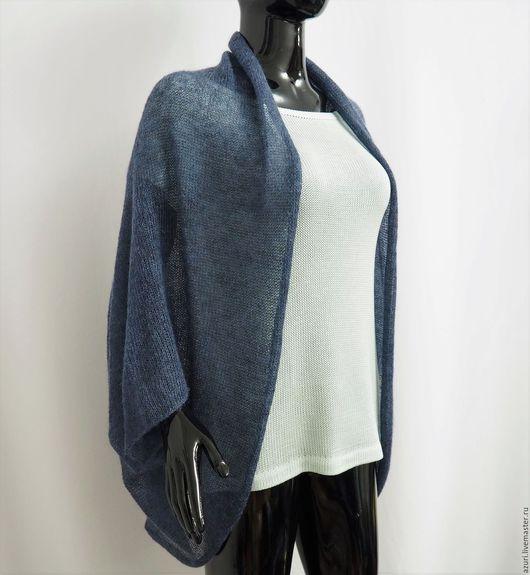 Кофты и свитера ручной работы. Ярмарка Мастеров - ручная работа. Купить Накидка-кардиган из кид-мохера (цвет синий джинсовый). Handmade.