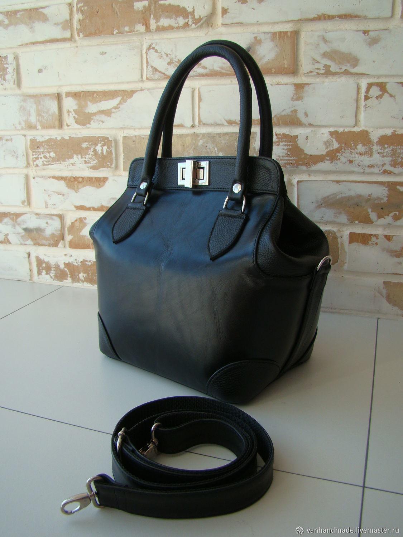 Шикарная кожаная женская сумка-саквояж /черная сумка/женская сумка, Саквояж, Киев,  Фото №1