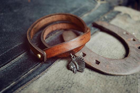 Браслеты ручной работы. Ярмарка Мастеров - ручная работа. Купить Браслет-намотка Indian кожаный мужской женский браслет из кожи. Handmade.