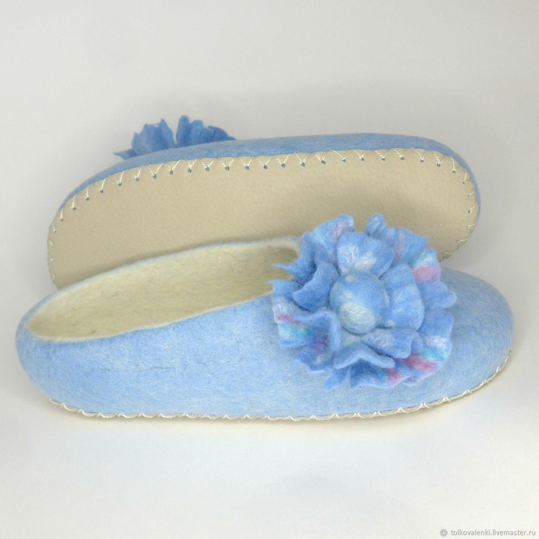 Голубые тапочки с цветочком, Тапочки, Раменское, Фото №1