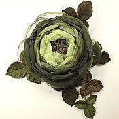 Украшения handmade. Livemaster - original item Melody Olive Groves. brooch with flowers made of fabric and genuine leather. Handmade.