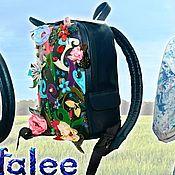 Сумки и аксессуары handmade. Livemaster - original item Genuine leather backpack with embroidery, backpack for spring.. Handmade.