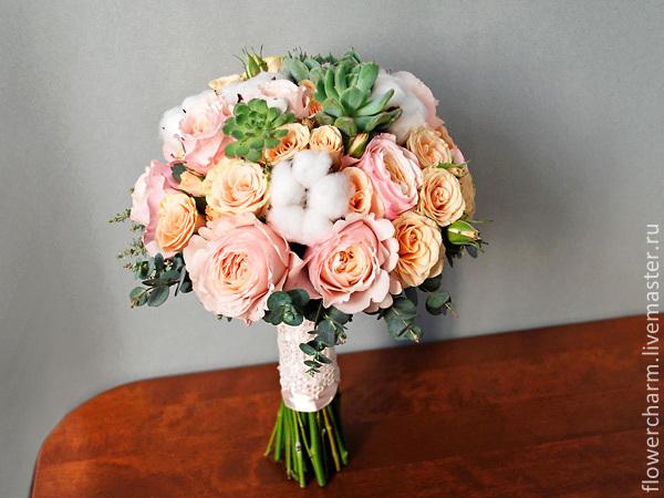 Букет невесты из розовых пионовидных роз