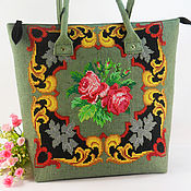 Сумки и аксессуары handmade. Livemaster - original item Bag textile Embroidered khaki green bag Roomy bag. Handmade.