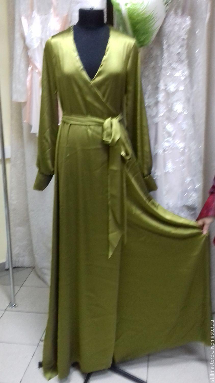 96de05ddebd Длинное шелковое платье с запахом – купить в интернет-магазине на ...