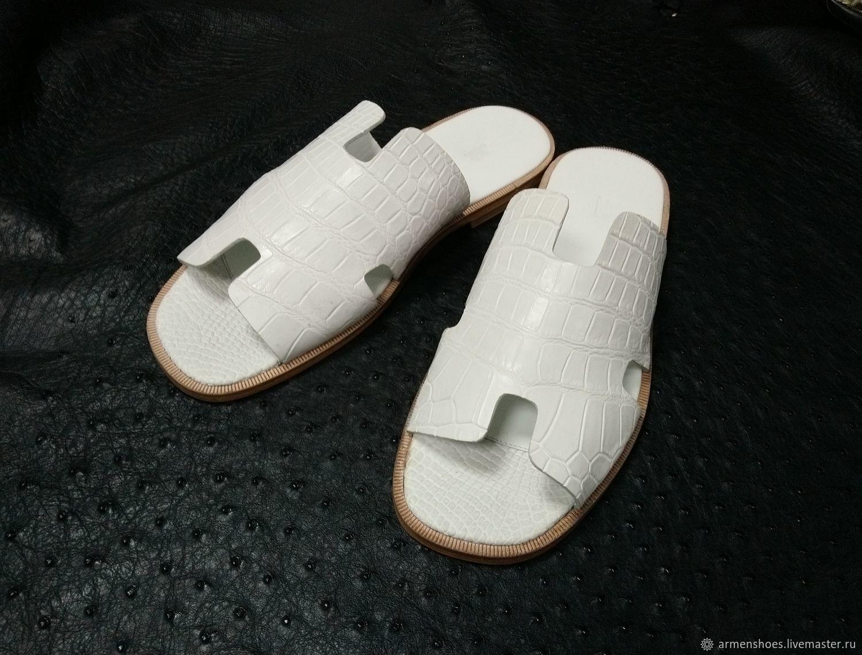 Тапочки из натуральной кожи крокодила, в белом цвете!, Тапочки, Тосно,  Фото №1