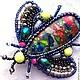 """Броши ручной работы. Ярмарка Мастеров - ручная работа. Купить Брошь жук """"Карнавал"""". Handmade. Карнавал, насекомое, агат, бисер"""