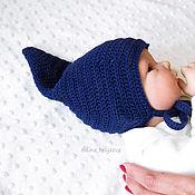 Работы для детей, handmade. Livemaster - original item elf hat for newborn baby boy knitted, blue. Handmade.