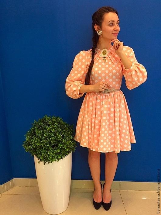 """Платья ручной работы. Ярмарка Мастеров - ручная работа. Купить Платье """"Карамелька"""". Handmade. Коралловый, платье в горошек, мини платье"""