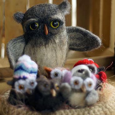 Dolls & toys handmade. Livemaster - original item OWL WITH OWLETS. Handmade.