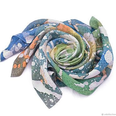 Accessories handmade. Livemaster - original item Silk green scarf