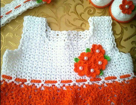 """Одежда для девочек, ручной работы. Ярмарка Мастеров - ручная работа. Купить Комплект """"Апельсин"""" - платье, пинетки, повязка. Handmade."""