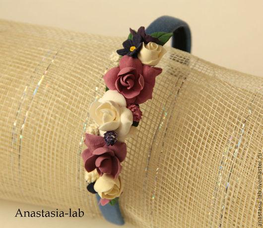 """Диадемы, обручи ручной работы. Ярмарка Мастеров - ручная работа. Купить ободок с цветами из полимерной глины """"Гардении и розы"""". Handmade."""