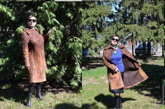 Верхняя одежда ручной работы. Ярмарка Мастеров - ручная работа. Купить Пальто валяное Карамель-шоколад-терракот. Handmade. Коричневый