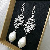 Свадебный салон handmade. Livemaster - original item Earrings with Majorca pearls and openwork element. Handmade.