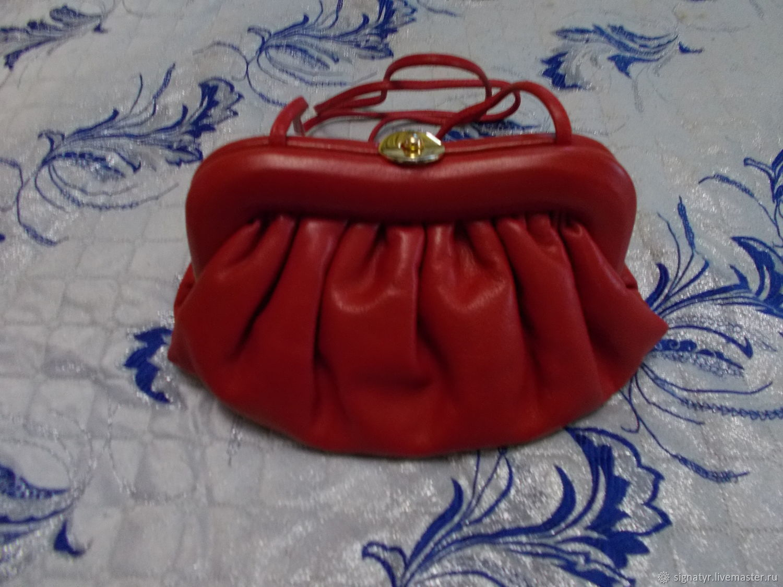 Винтаж: Клатч красный натуральная мягкая кожа, Винтажные сумки, Оренбург, Фото №1