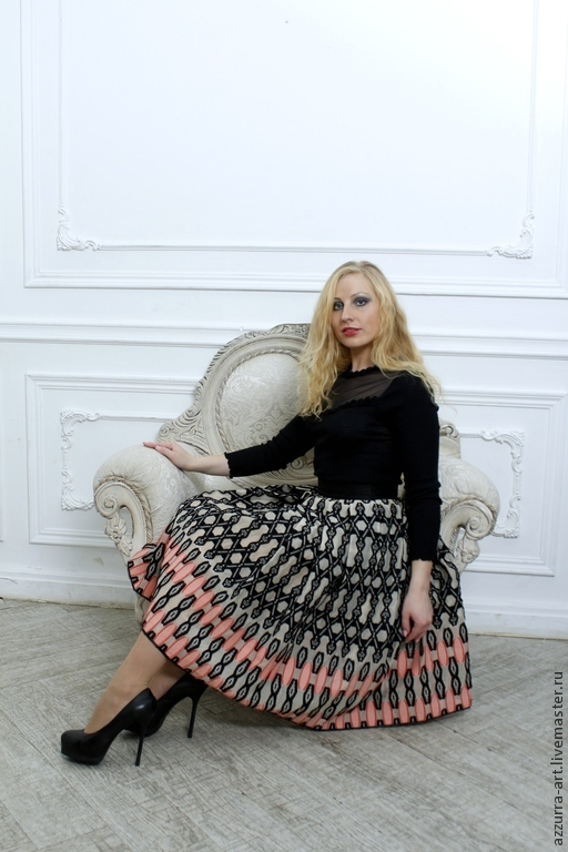 Юбки ручной работы. Ярмарка Мастеров - ручная работа. Купить Двойная юбка - миди из итальянского хлопка. Handmade. Разноцветный, италия