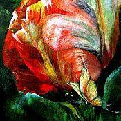 """Картины и панно ручной работы. Ярмарка Мастеров - ручная работа Картина    из   шерсти   """"Ночная сказка"""".  Тюльпан.. Handmade."""