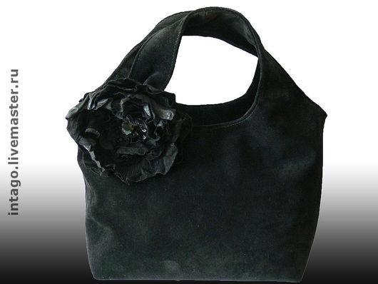 Handbags handmade. Livemaster - handmade. Buy Bag and brooch (2in1).'Black poppy'..Suede bag, bag, black bag