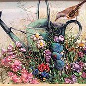 Картины и панно ручной работы. Ярмарка Мастеров - ручная работа Птичка на лейке. Handmade.