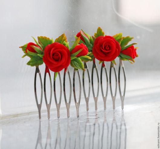 """Заколки ручной работы. Ярмарка Мастеров - ручная работа. Купить """"Алые розы"""" гребень. Handmade. Ярко-красный, заколка с цветами"""