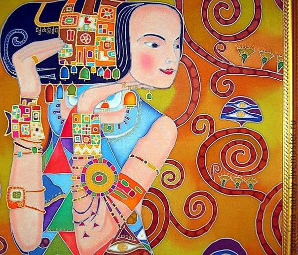 Painting reproduction of Waiting for the motives Klimt Shop silk Batik Paradise from Natalia Sorokina Batik panels Panels Interior Painting on silk Panels on silk Klimt Reproduction of Girl Dance Brow