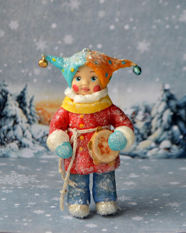 Ватная ёлочная игрушка Петрушка с бубном Елочная игрушка, Елочные игрушки, Кимовск,  Фото №1