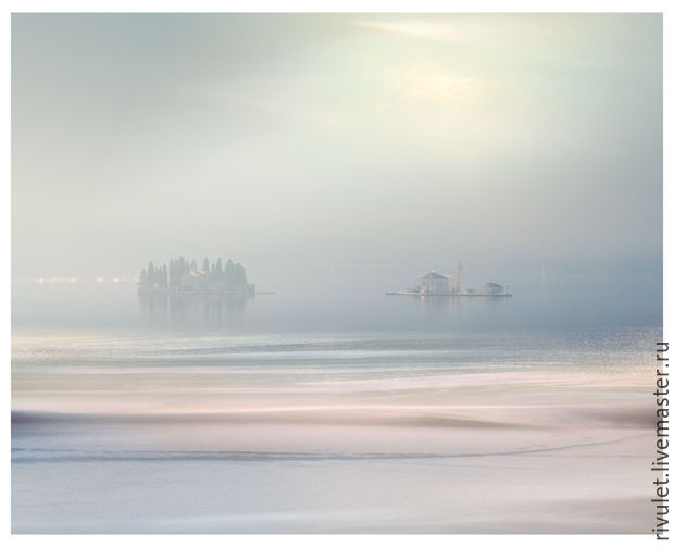 Photo pictures for interior marine landscape in pastel `fog Lights`. Photo painting suitable for living room or bedroom. Print size: 20x25, 32x40, 40x50, 50x60, 60x75 cm