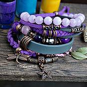 Украшения handmade. Livemaster - original item Purple suede bracelet for BOHO-chic hand