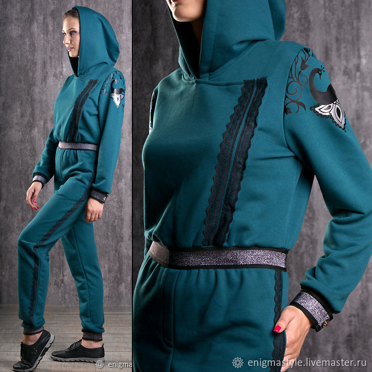 Turquoise women's jumpsuit, emerald jumpsuit with hood, Jumpsuits & Rompers, Novosibirsk,  Фото №1