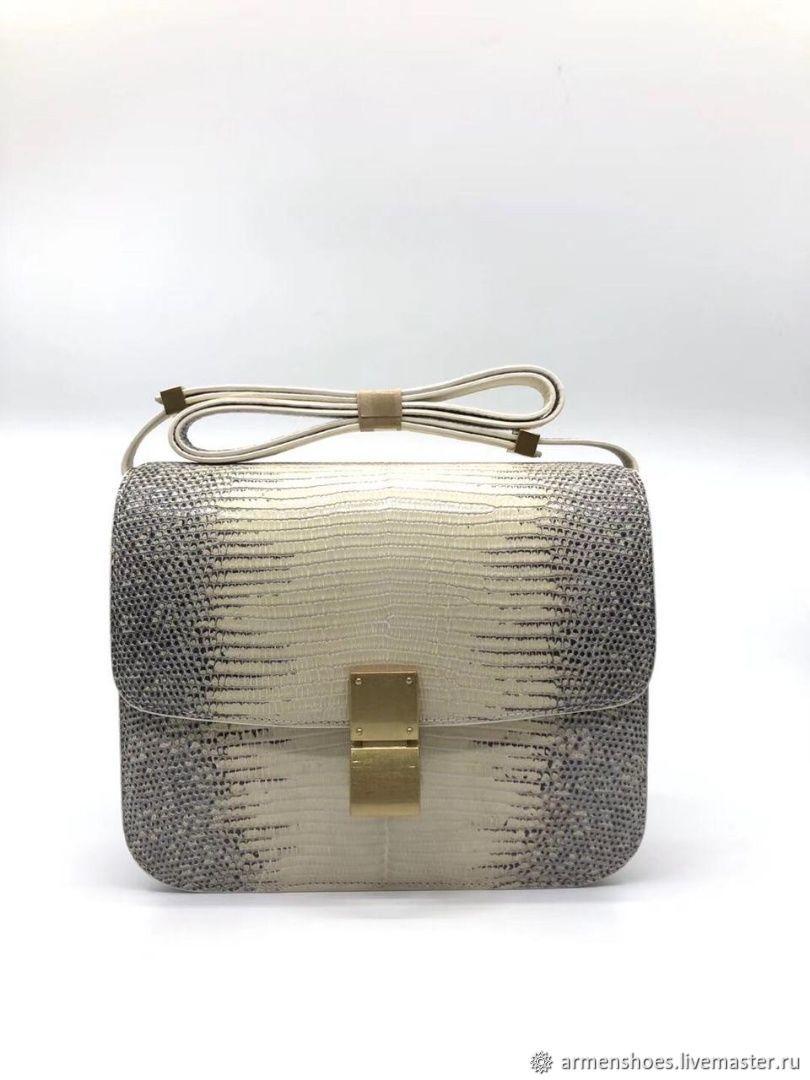 Classic handbag made of lizard skin (iguana), in natural color, Classic Bag, Tosno,  Фото №1