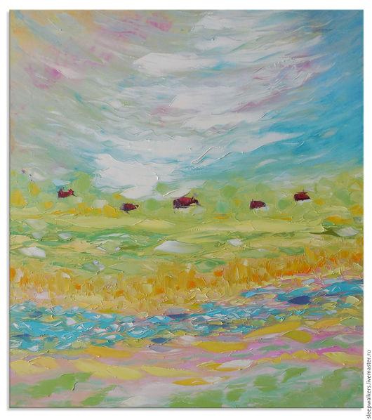 """Пейзаж ручной работы. Ярмарка Мастеров - ручная работа. Купить """"Деревенская весна"""" картина маслом мастихином пейзаж. Handmade. Картина"""