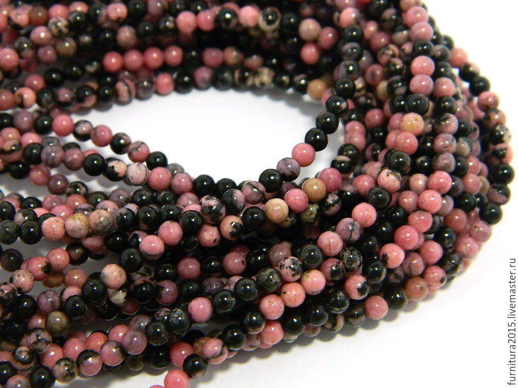 Rhodonite beads, natural stone, 3 mm, Urals, Russia, Beads1, Saratov,  Фото №1
