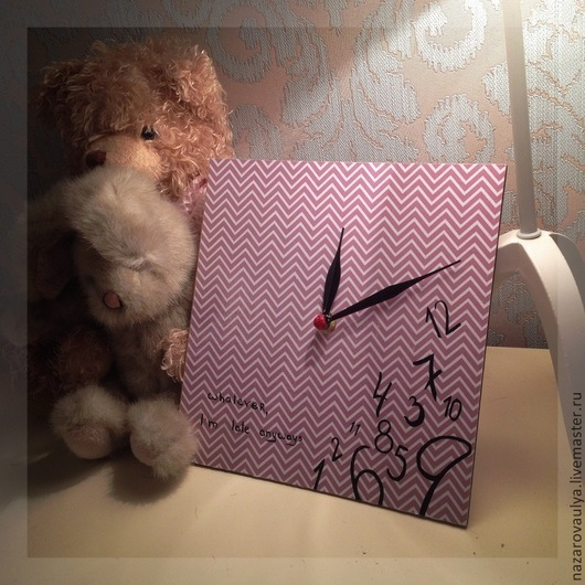 """Часы для дома ручной работы. Ярмарка Мастеров - ручная работа. Купить Настенные часы """"late anyways"""". Handmade. Сиреневый"""
