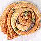 Шарф Золотой ручной работы, вязаный спицами, тонкий, шелковистый, гладкий. Золотого, коричневого и желтого цветов. Полосатый. Легкий, красив в движении, оригинальный яркий аксессуар!