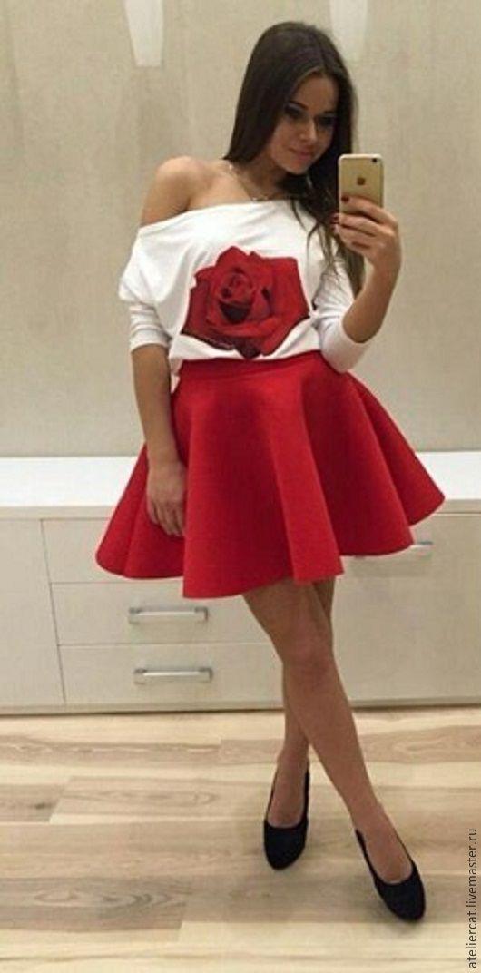 931c1782418 Ярмарка Мастеров - ручная работа. Купить Красная юбка солнце из неопрена.  ...