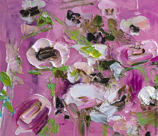 Розовая картина с цветами букет розы пионы подарок на новый год 2016. Современные художники импрессионисты Марина Маткина купить картину в наличии