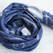 """Аксессуары handmade. Livemaster - original item Роскошный тонкий женский палантин  из ткани Gucci """"Мухи"""" синяя джинса. Handmade."""